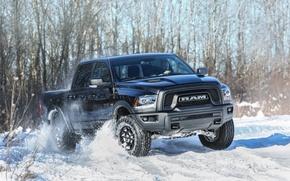 Картинка зима, снег, скорость, Dodge, автомобиль, winter, Ram 1500, Rebel Black Crew Cab