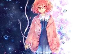 Обои девушка, аниме, лепестки, слезы, арт, лента, kyoukai no kanata, kuriyama mirai, yamada konayuki