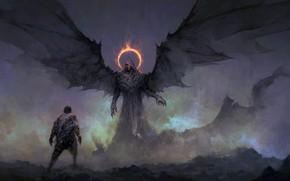 Картинка dark, fantasy, wings, red eyes, man, digital art, artwork, dark angel, fantasy art, creature, Demon, …