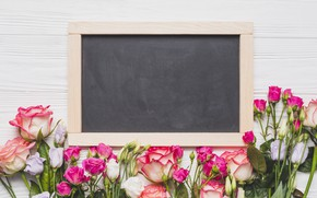 Картинка цветы, розы, доска, розовые, бутоны, wood, pink, flowers, roses