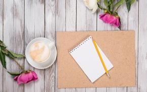 Обои бутоны, wood, пионы, pink, romantic, кофе, peonies, flowers
