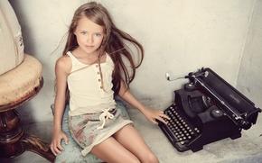 Картинка пишущая машинка, kristina pimenova, Кристина Пименова, взгляд, девочка