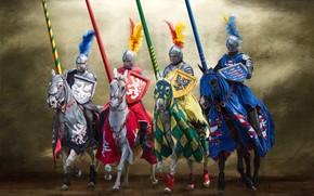 Обои оружие, лошадь, доспехи, копье, щит, герб, Рыцарь