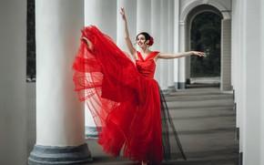 Обои платье, девушка, танец, балерина