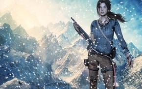 Обои оружие, снежные горы, Лара Крофт, Tomb Raider, снег, дробовик, девушка, Lara Croft