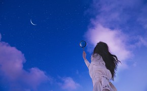 Картинка небо, девушка, звёзды, лупа, Lichon