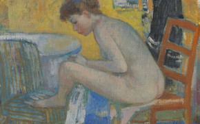 Картинка эротика, девушка, картина, Francois Gall, Евгения на Красном Стуле с Халатом