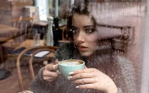 Обои Girl, rain, long hair, blue eyes, model, cup, mood, water drops, bokeh, window, lips, face, ...