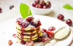 Картинка вишня, блины, десерт, сироп, кокосовая стружка, pancakes, оладьи