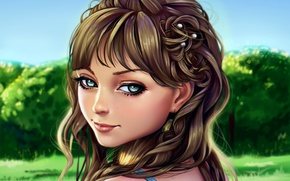 Обои лес, глаза, девушка, волосы, прическа, лицо, арт, взгляд, портрет