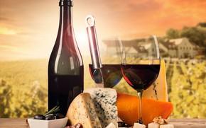 Обои бутылка, стол, доска, фон, вино, сыр, нож, колбаса, бокалы, пейзаж
