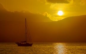 Картинка boat, ocean, mountains, sand, dusk, sun, island, clouds, Australia, reef, sky, sailboat, sail, tropical, sunset, …