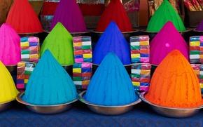 Картинка Индия, рынок, порошок, Майсур, Карнатака, фестиваль Холи, Девараджа