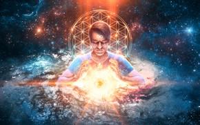 Обои calm, meditation, light, умиротворение, galaxy, галактика, свет, создатель, space, космос, солнце, медитация, дух, energy, star, ...