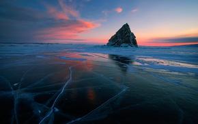 Картинка закат, отражение, лёд, Байкал, остров Еленка