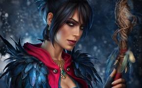 Обои взгляд, девушка, посох, Dragon Age, Морриган