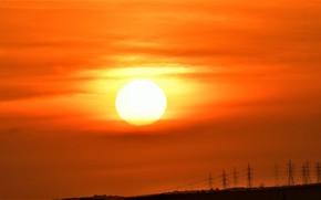 Картинка небо, солнце, пейзаж, рассвет