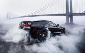 Обои Chevrolet Corvette, Chevrolet, Corvette, black, мост, smoke, дым