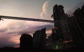 Картинка птицы, планета, башня, сооружение, Combine Outpost
