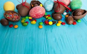 Картинка шоколад, яйца, конфеты, пасха, Праздник
