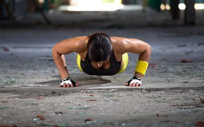 Обои push-ups, workout, fitness, woman