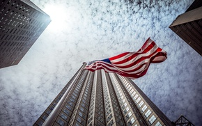 Картинка небо, город, флаг, Miami, Florida