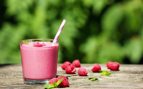 Картинка стакан, ягоды, малина, трубочка, напиток, смузи