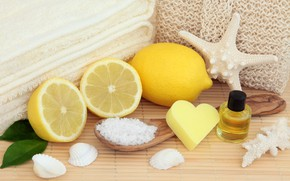 Картинка лимон, мыло, ракушки, lemon, bath, still life, candle, spa, starfish, salt, oil, seashells