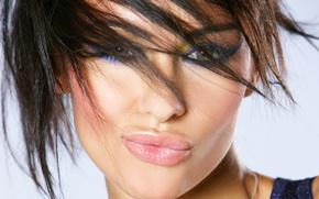 Картинка взгляд, девушка, лицо, модель, волосы, макияж, губы