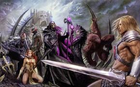 Картинка sword, fantasy, magic, weapon, monsters, castle, artist, digital art, artwork, shield, warrior, fantasy art, Evelynn, …
