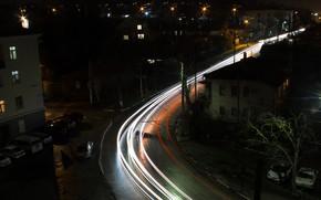 Картинка city, lights, light, black, road, night, spotlight, traces
