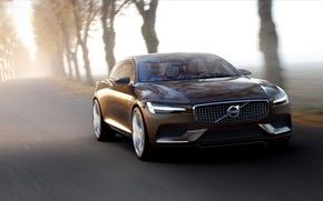 Картинка дорога, туман, скорость, Volvo