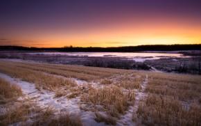 Обои закат, осень, снег, поле