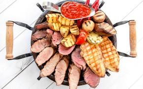 Картинка грибы, баклажан, мясо, соус, картофель, гриль