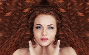 Картинка Beautiful, woman, hair, floor