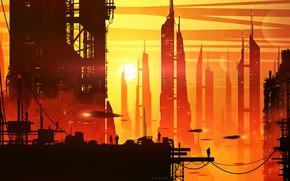 Картинка закат, город, будущее, люди, by kvacm, силуты