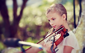Обои музыка, скрипка, девочка