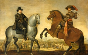 Картинка картина, жанровая, Pauwels van Hillegaert, Принц Морис и Принц Фредерик Генри на Лошадях