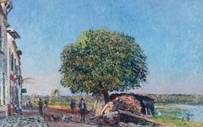 Картинка пейзаж, дерево, улица, дома, картина, Alfred Sisley, Альфред Сислей, Каштан в Сен-Мамес