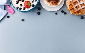 Картинка ягоды, кофе, вафли, Завтрак