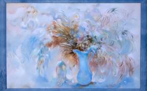 Картинка картина, голубой фон, Натюрморт, Сфумато, сувенирная живопись, Петренко Светлана, синяя ваза, отеннки синего, заснеженые цветы