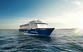 Картинка Небо, Море, Лайнер, Свет, Судно, Пассажирский, Бак, Пассажирский лайнер, Mein, TUI Cruises, Royal Caribbean Cruises, …