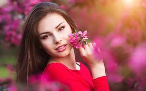 Картинка девушка, цветы, красота, весна, сад, woman, young, beautiful, Spring, Happy, touch
