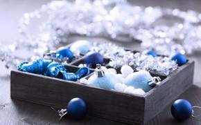 Картинка коробка, шары, игрушки, новый год