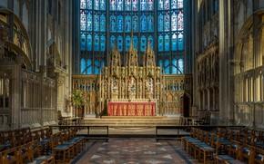 Картинка Англия, витражи, Глостерский собор