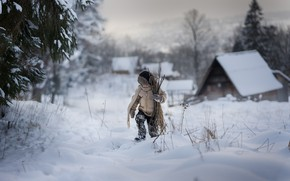 Картинка зима, снег, мальчик