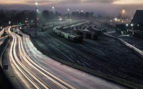 Картинка ночь, станция, железная дорога