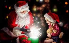 Картинка радость, праздник, подарок, волшебство, игрушка, новый год, девочка, санта клаус, боке
