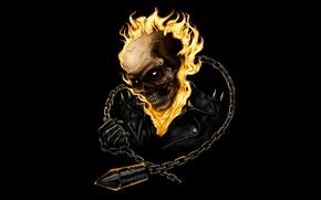 Картинка череп, цепь, призрак, Ghost Rider, гонщик
