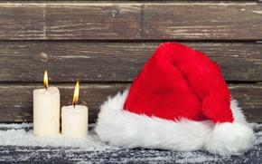 Картинка свечи, Новый Год, Рождество, wood, merry christmas, decoration, xmas, santa hat, holiday celebration